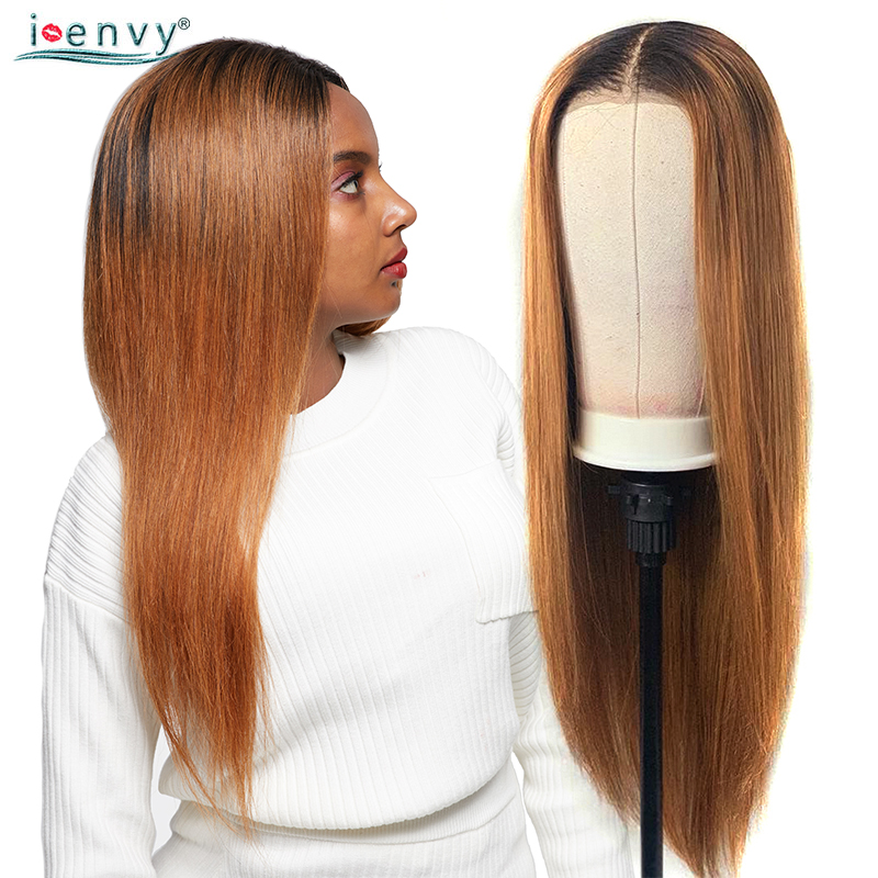 Ienvy Ginger Blonde Lace Front Wigs Ombre Brazilian Straight Wig For Black Women Colored #30 Lace Front Human Hair Wigs Nonremy
