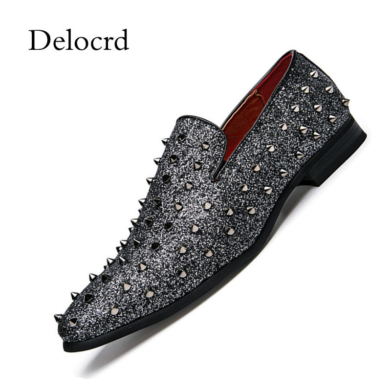 Delocrd Flats-Shoes Studded Loafers Rivets Slip-On Casual Luxury Man Top-Quality Low-Top