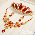 The bride hair accessory set red elegant rhinestone Wedding accessories piece set Bridal hair accessory