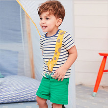 Jumping baby brand summer baby boys T shirts striped cotton children clothes hot selling toddler tops tees embroidery animals