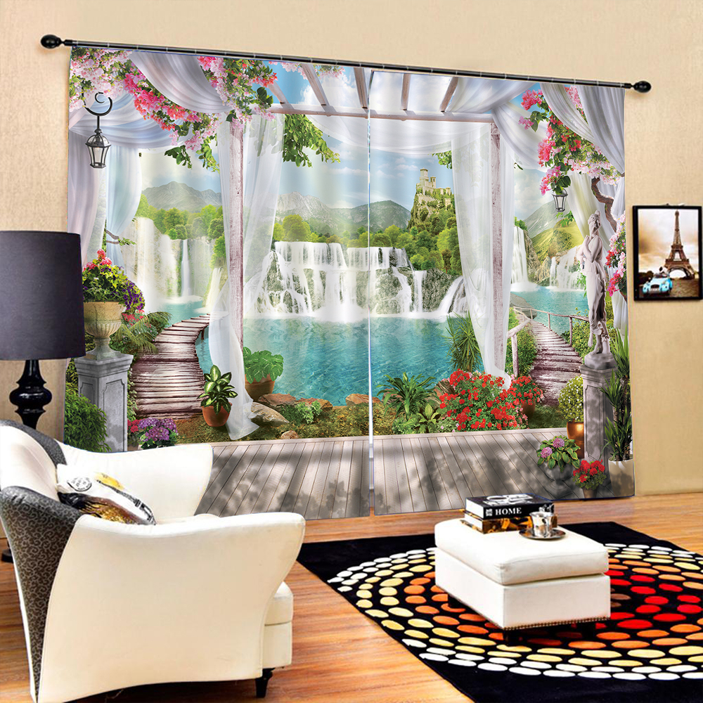 Waterfall 3d Blackout Curtain Pattern Curtain Digital Printing Waterproof Sunscreen For Living Room Decoration Blockout Oct25