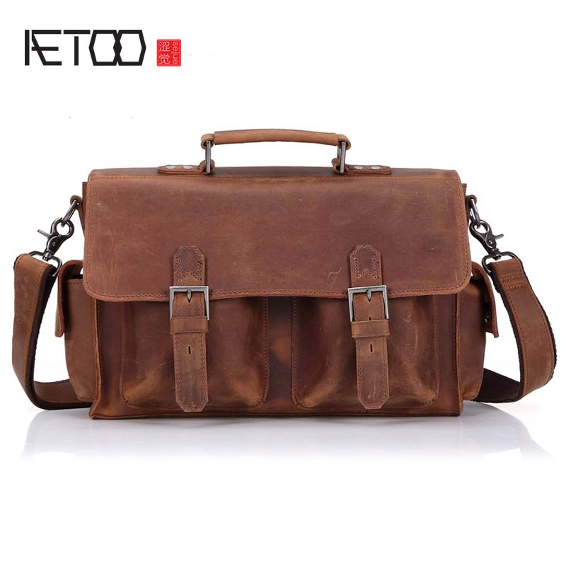 AETOO Leather men bag business briefcase men crazy horse leather bag European and American retro shoulder bag male leather compu aetoo crazy horse leather leather classic classic men s 14 inch business portable computer bag