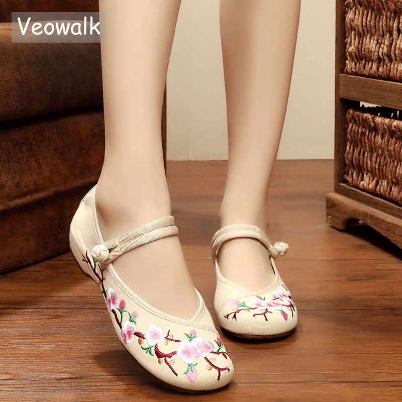 Veowalk Plum Flowers Embroidered Women's Canvas Ballets Flats Low Top Comfortable Fabric Casual Mary Janes Shoes for Ladies flowers branch embroidered chinoiserie fabric corset belt