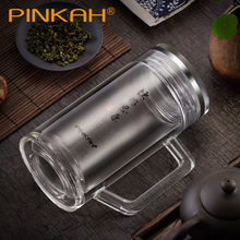 Office Glass Water Bottle Double Wall Thicken Glass With Tea Infuser SUS304 Inner Cover Hand-made Glass 350ml With Handle Office 50l single lined jacketed glass reactor with condenser with dropping flask with sus304 water heat bath for lab dry distillation
