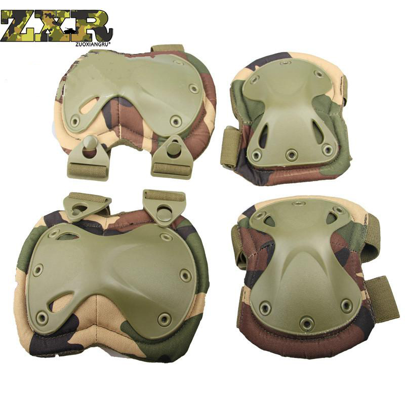 Tactical Knee And Elbow Protector Pad For Paintball Airsoft Combat Uniform Military Suit 2 Knee Pads & 2 Elbow Pads/set