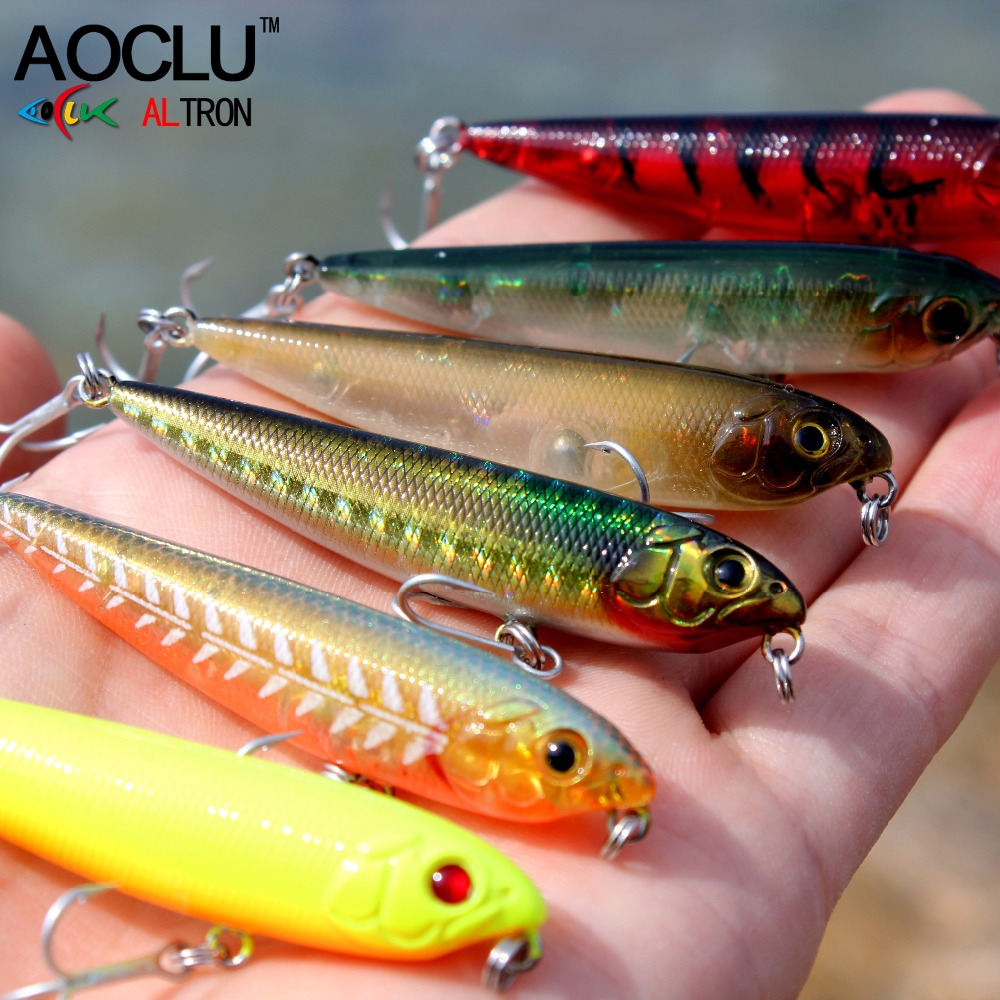 AOCLU wobblerek Super Quality 6 szín 60 mm-es keményhúzó Minnow Crank Popper Stick Halászati ​​csalik Bass Fresh Salt water 10 # VMC horog