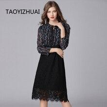 TAOYIZHUAI 2019 New Arrival Spring High Street Style Plus Size Print Lace Up O-Neck Tank Black Chiffon Spliced Women Dress 16083 цена 2017