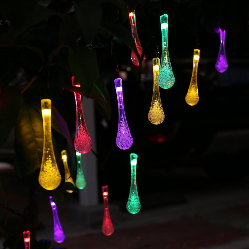 Solar Outdoor String Lights Water Drop 20LED Solar Powered LED String  Garland Light Garden Christmas Lights