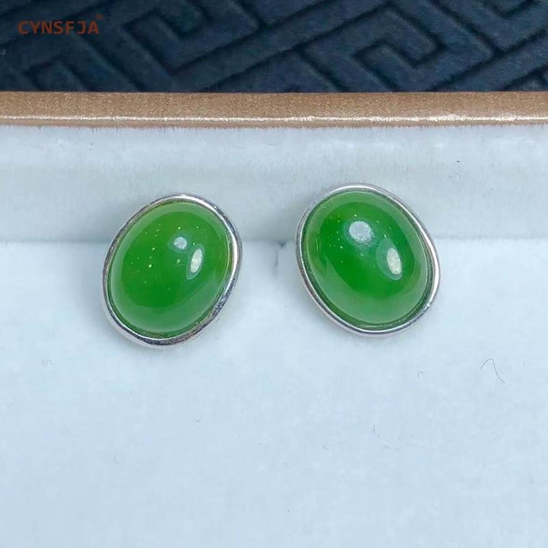 Certificado Natural Hetian Jade Jasper Embutidos 925 Prata Esterlina Handmade Sorte Brincos de Jade Verde de Alta Qualidade Presentes de Aniversário