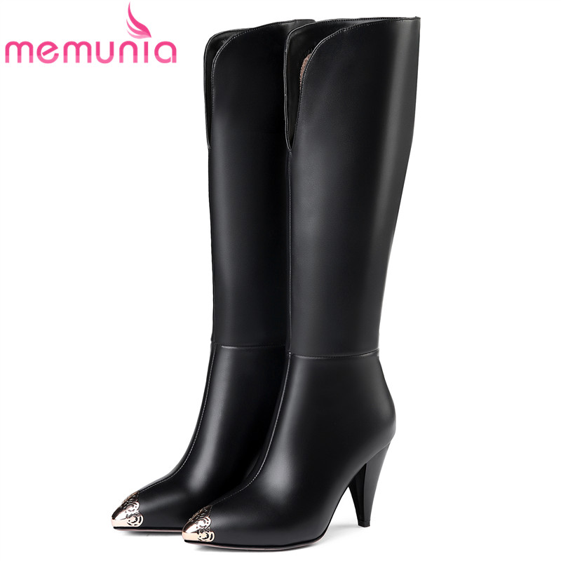 MEMUNIA 2018 newest knee high boots women pointed toe genuine leather boots fashion sexy autumn winter boots high heels shoes daidiesha knee high boots embroidery genuine pu leather women boots in winter square high heels boots sexy pointed toe shoes