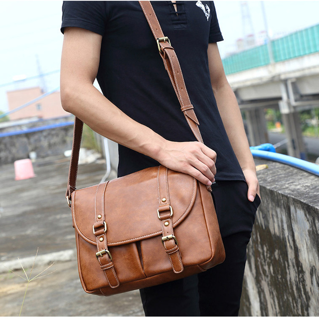 Leather Men Bag Casual Business Leather Mens Messenger Bag Fashion Men's Crossbody Bag 2