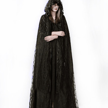 Steampunk Gothic Dark Black Trech Coat Gothic Mysterious Ritual Lace Long Cloak Halloween Cosplay Costume Jackets Coat For Women