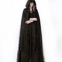 Steampunk Gothic Visual Kei Dark Black Trech Coat Mysterious Ritual Lace Long Cloak CoatS Halloween Cosplay