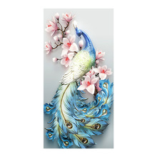 Relief green Peacock animal Diamond Painting Full Round Pink floral New DIY Sticking Drill Cross Embroidery 5D Home Decoration