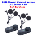 2pcs/Lot Soft Earphone FM Radio Bluetooth Headset  Motorcycle Helmet Intercom With LCD Screen