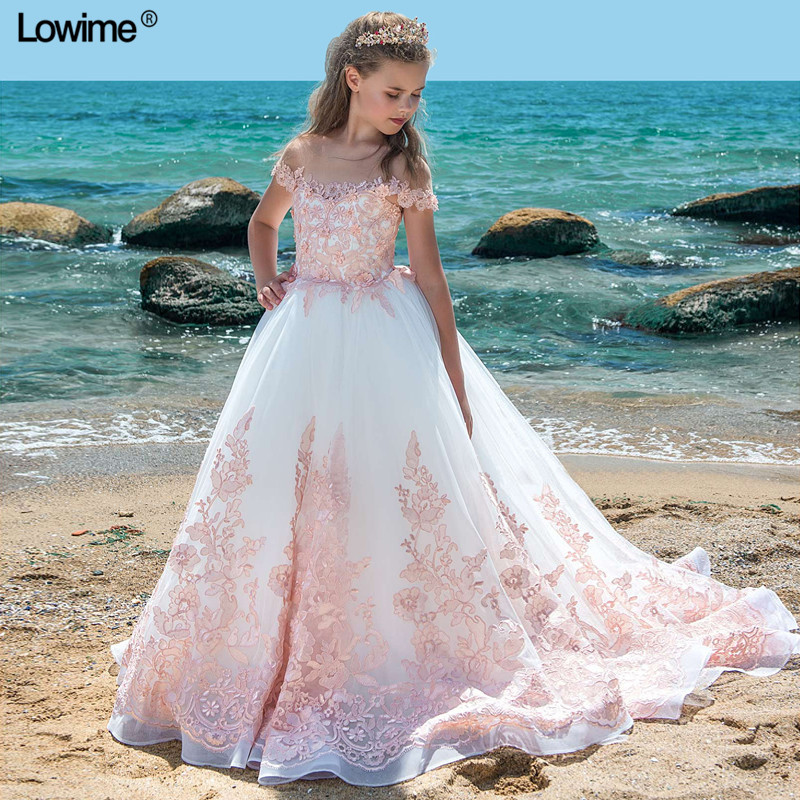 Off The Shoulder A-Line Flower Girl Dresses For Weddings Lace Beading First Communion Dresses Girls Pageant Dress 2018