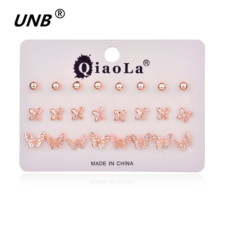 Claire Fashion Women Accessories Stud Earring Set Stars Butterfly Flower Love Heart Pearl Wholesale Earrings Mix Lot 12 Pairs