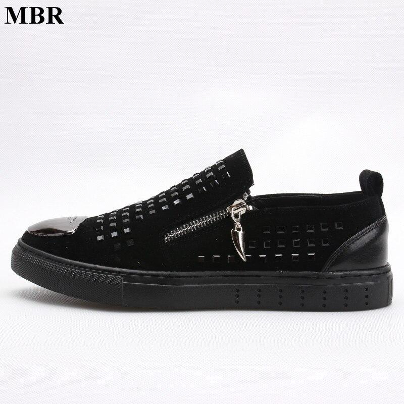 MBR Fashion Men Black zipper Rhinestones Genuine Leather Brand Low Red Bottom Casual Shoes Men Flats Loubuten Shoes Size 38-43