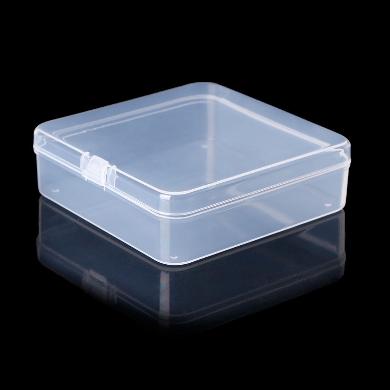 Round shape Earplug Container Bead Craft Case White Storage Clear Box Plastic DS