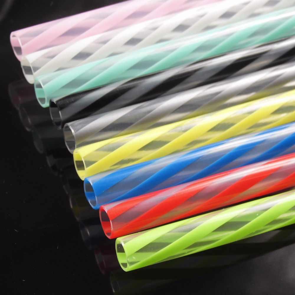 5 pcs/lot 23 cm fantaisie dur réutilisable Transparent dépouillé pailles à boire en plastique/pailles de boisson de couleur de mode pour Marson Jar
