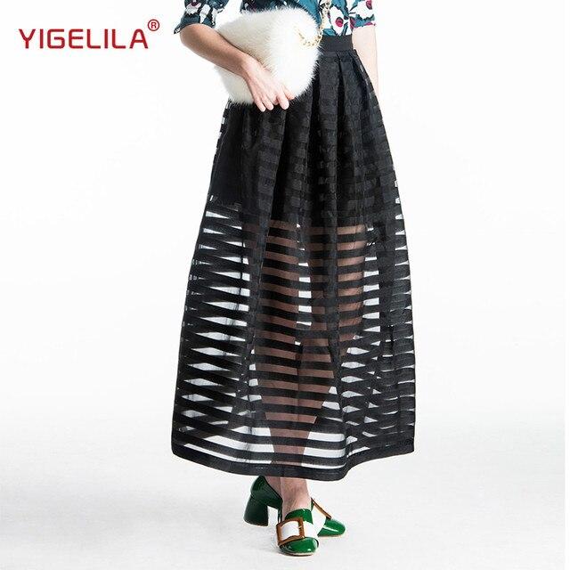 7d5d98432 YIGELILA 5193 Latest New Fashion Women Casual High Waist Black Striped Long  Skirt