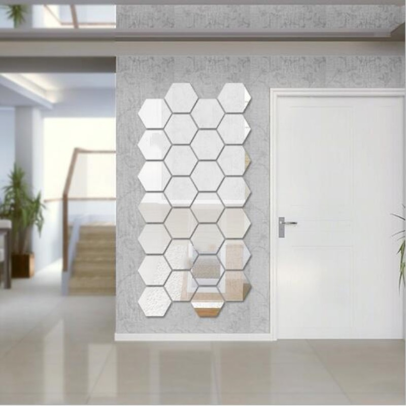 9Pcs/lot Acrylic Hexagon Mirror Wall Stickers DIY Home Decor For Living Room,Removable Decorative Sticker 3 Sizes