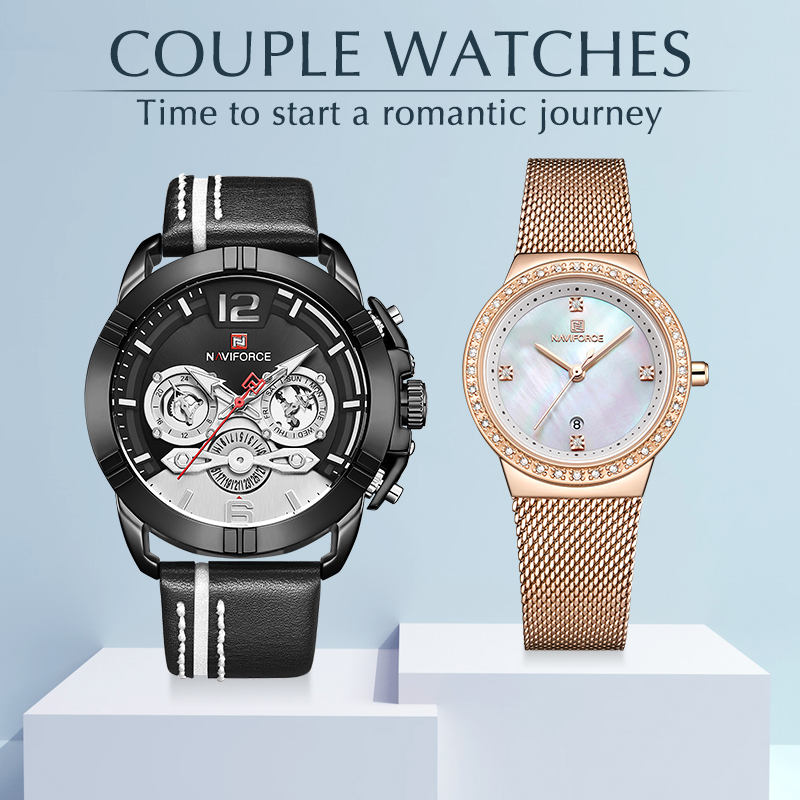 Couple Watches NAVIFORCE Top Brand Stainless Steel Quartz Wrist Watch For Men And Women Fashion Casual Clock Gifts Set For Sale