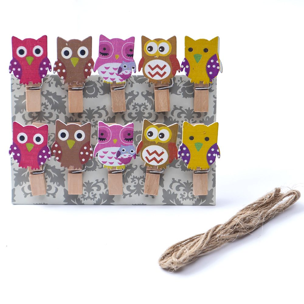 10pcs/bag +1 Line Cute Owl Wooden Clip Photo Paper Craft DIY Clips With Hemp Rope Embellishment Photo Holder
