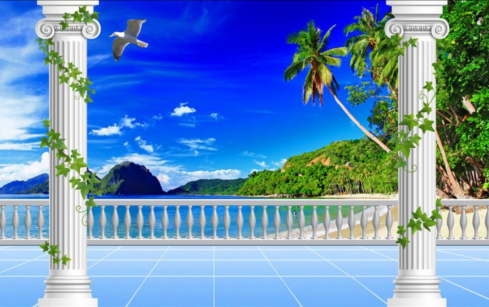 wall mural wallpaper Custom 3d wallpaper living rooms Blue Sky White Cloud Green Mountain Beach TV Wall Background cloud mountain 150g