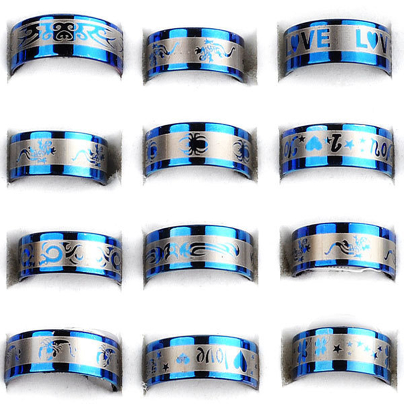Wholesale 12Pcs/lot 316L Stainless Steel Rings Jewelry for Men Women Surgical Wedding Finger Lot 17-21mm