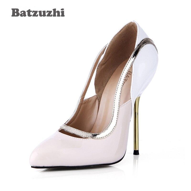 Sexy Thin Leder Damen 12 Heels Cm Pumpe Frauen 43 Ferse Eisen Hochzeit Spitz Batzuzhi 4 Schuhe Größe Hohe d4OxwYd1