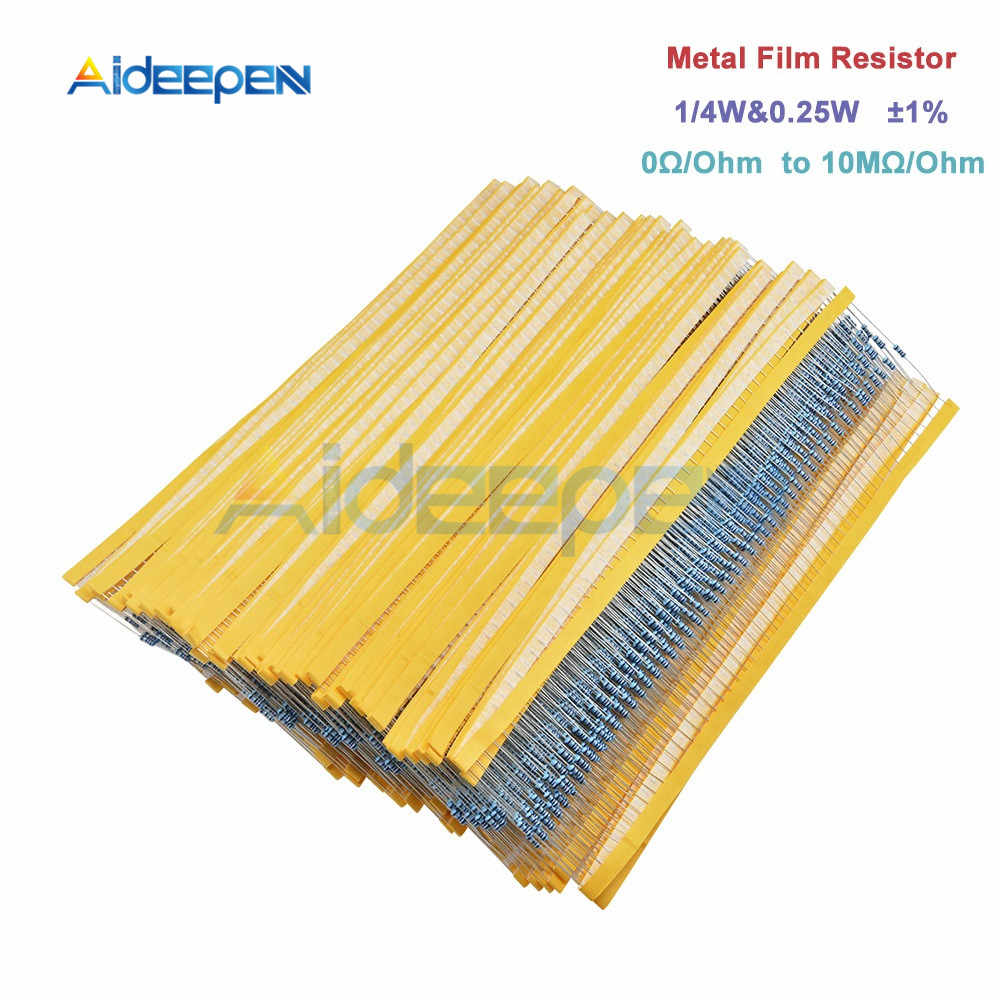 100 pz/lotto 1% Resistore a Film Metallico 1/4w 0.25w Resistor Assortimento Kit Set 0 Ohm-10M Ohm