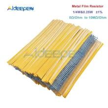 100pcs/Lot 1% Metal Film Resistor 1/4w 0.25w Resistor Assortment Kit Set 0 Ohm-10M Ohm 100pcs 1206 510k 510k ohm 1% smd resistor