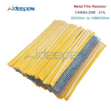 цена на 100pcs/Lot 1% Metal Film Resistor 1/4w 0.25w Resistor Assortment Kit Set 0 Ohm-10M Ohm