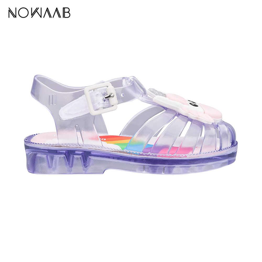 Mini Melissa Bulundurma Unicorn 2019 Kız Jöle Sandalet Yaz Sandalet Melissa Çocuk Sandalet plaj ayakkabısı bebek ayakkabısı