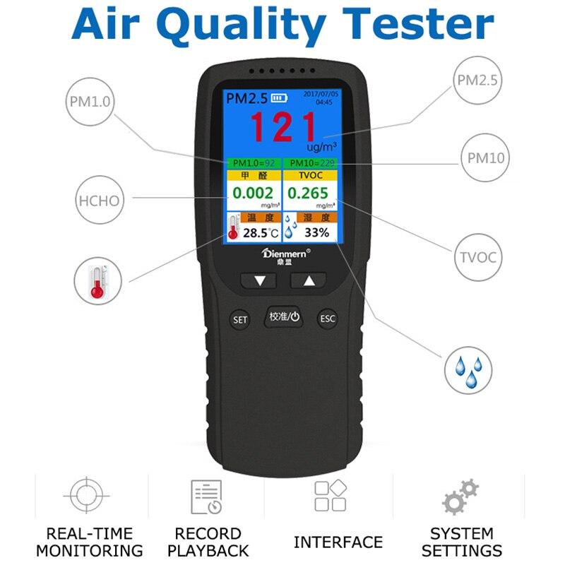 PM 2,5 aire Detector Analizador de Gas portátil Detector de calidad del aire Monitor CO2 TVOC PM10 formaldehído Multi-función Detector de Gas
