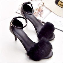 2017 New Elegant The summer sandals with fur simple female high-heeled fine with sandals For Women .SGLL-C01