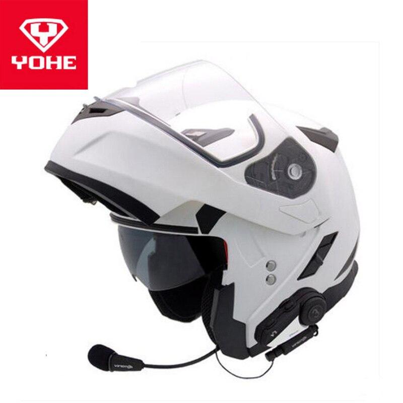 2018 automne hiver YOHE V3 Bluetooth casque visage ouvert moto casque YH953 Flip Up moto Helemts de ABS PC visière lentille
