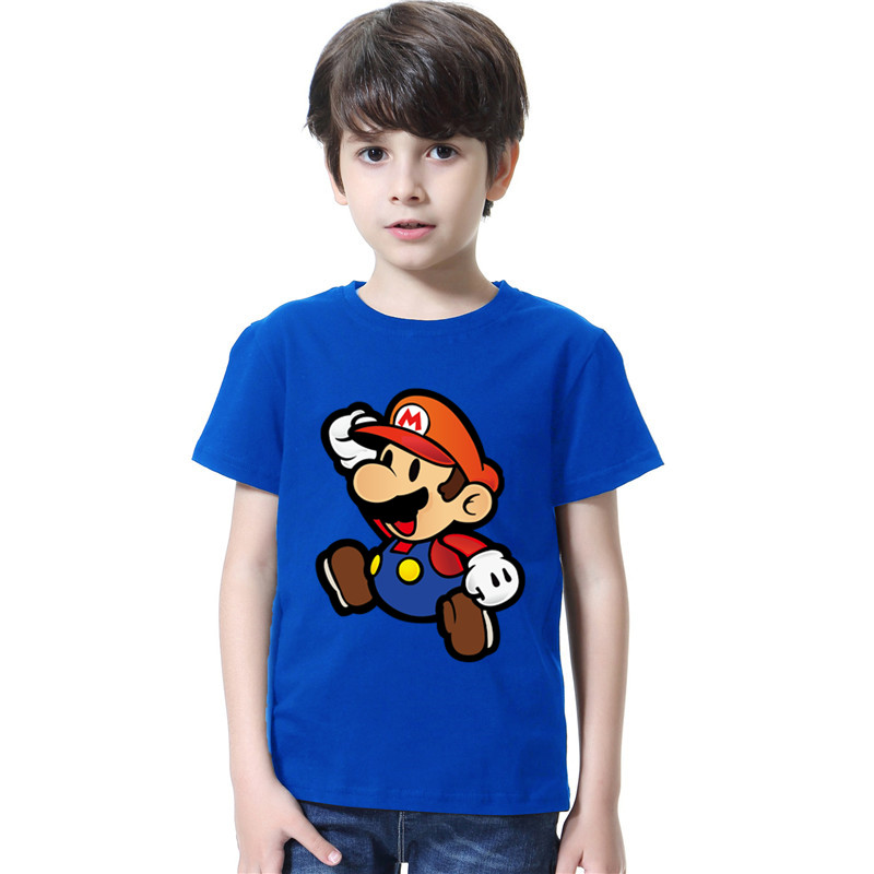 2021 Mario Cartoon Game T-shirt Kids Hip Hop Short Sleeve TShirts Boys Girls Super Mario Tee Shirts Casual Basic Tops 3-13y 1