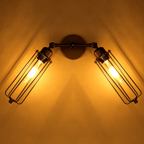ФОТО High Quality Vintage 2 Heads Loft Iron Cages Wall Light Retro Edison Country Style E27 Incandescent Lamp 110-220V AC