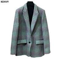 KENVY модные брендовые женские высокого класса люкс осень Англия плед шерстяной Блейзер