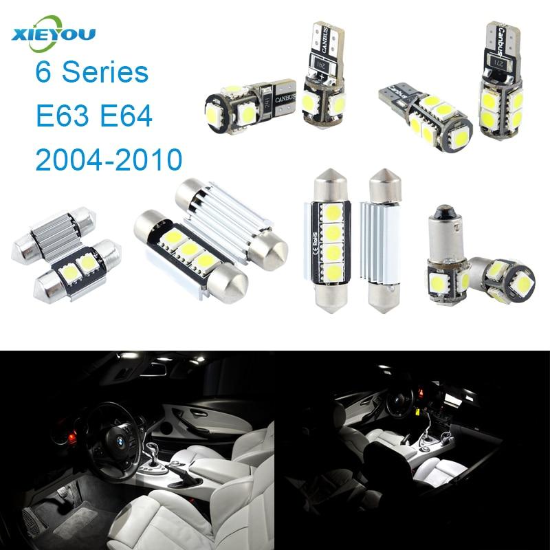 XIEYOU 11ks LED sada pro osvětlení interiéru Canbus pro 6 řady E63 E64 (2004-2010)