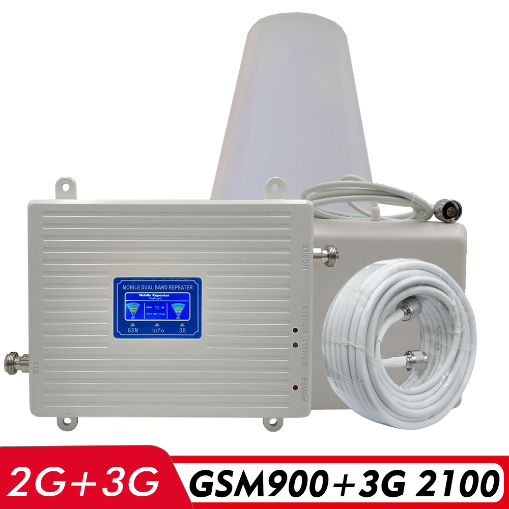 65dB Gain Dual Band Signal Booster 2G GSM 900 3G UMTS WCDMA 2100 MHz Cell Phone