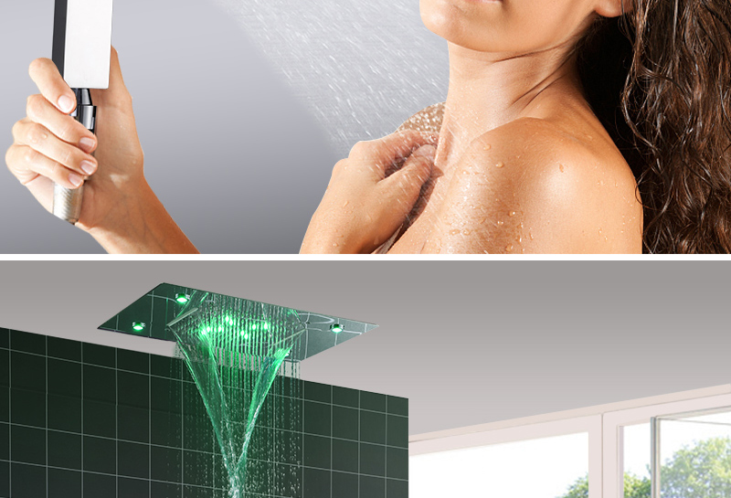 hm Shower System Double Waterfall Rainfall Large Ceiling LED Rain Shower Head Recessed Automatic Color Change Thermostatic Tap (10)
