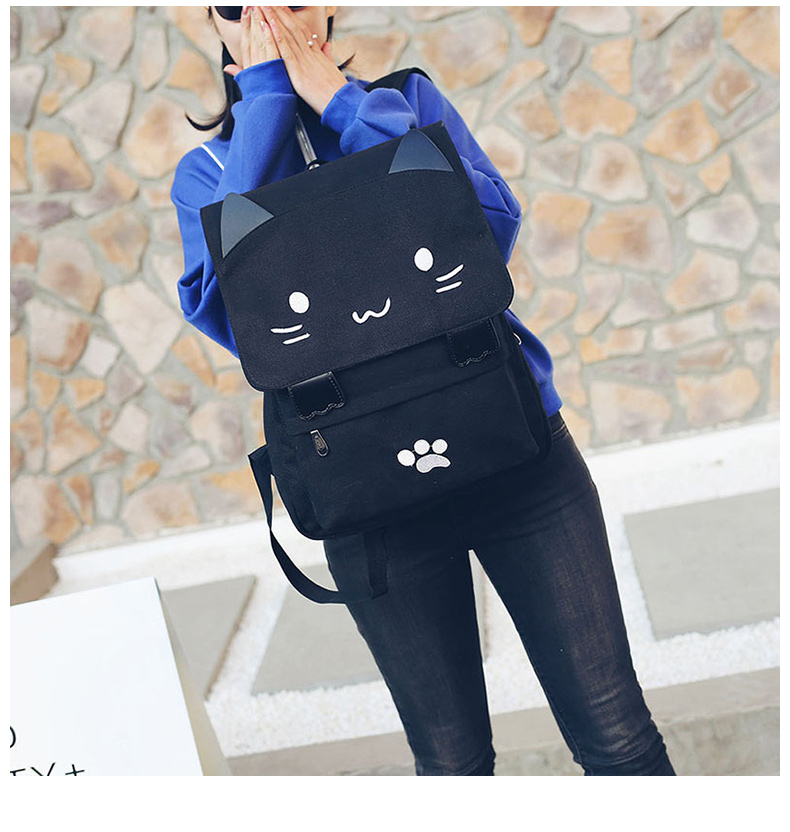 HTB1dIN9a79E3KVjSZFGq6A19XXaK Cute Cat Canvas Backpack Cartoon Embroidery Backpacks For Teenage Girls School Bag Fashio Black Printing Rucksack mochilas XA69H