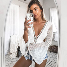 Lace Deep V-Neck Flare Sleeve Backless Long Sleeve Hollow Out Overalls