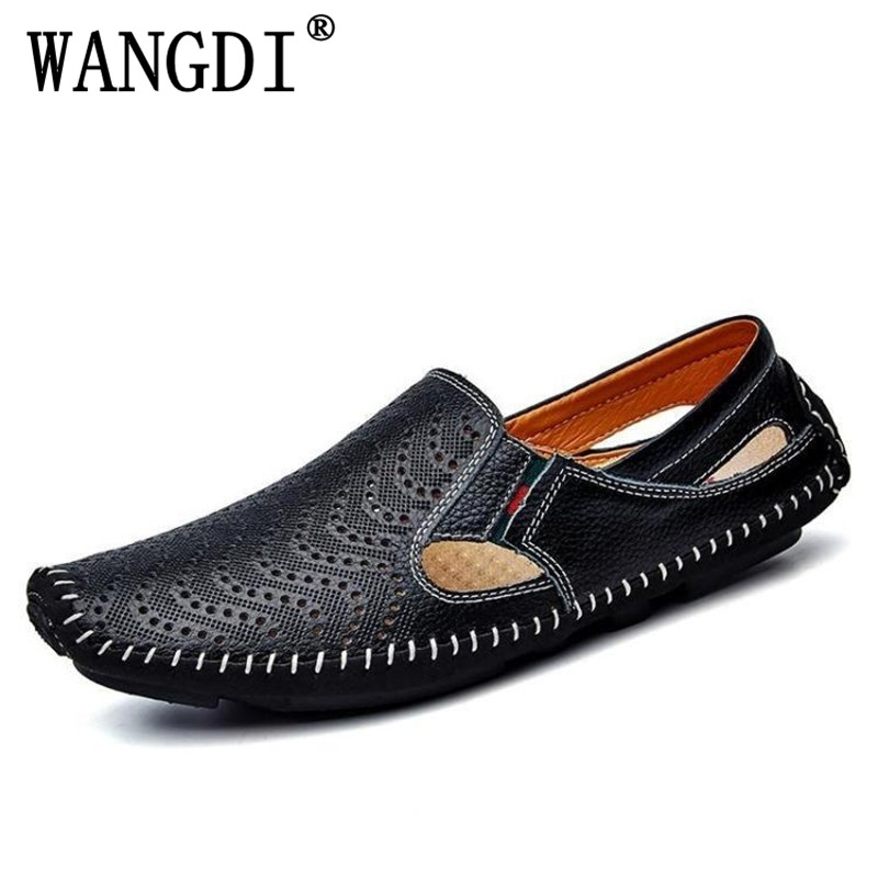 Ed Beauty Size 38-47 Cow Genuine Leather Mens Shoes Spring Summer Breath Men Luxury Driving Shoes Slip On Casual Male Loafers dekabr new 2018 men cow suede loafers spring autumn genuine leather driving moccasins slip on men casual shoes big size 38 46