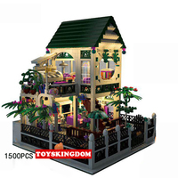 New Romantic heart house Villa moc building block with light boy and girl figures bricks toys collection for adult kids gifts