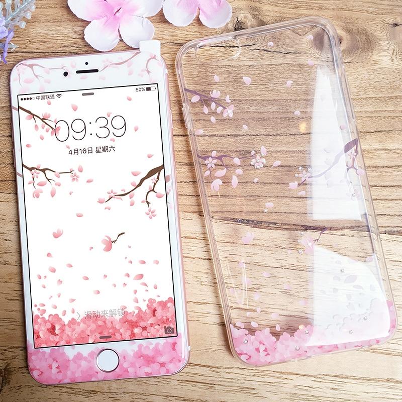 bilder für PZOZ Original Für iPhone 7 7 Plus Nette Karikatur Strass Glitter Silikon Fall Abdeckung + Hafenpersenning Schirmschutz Kirsche