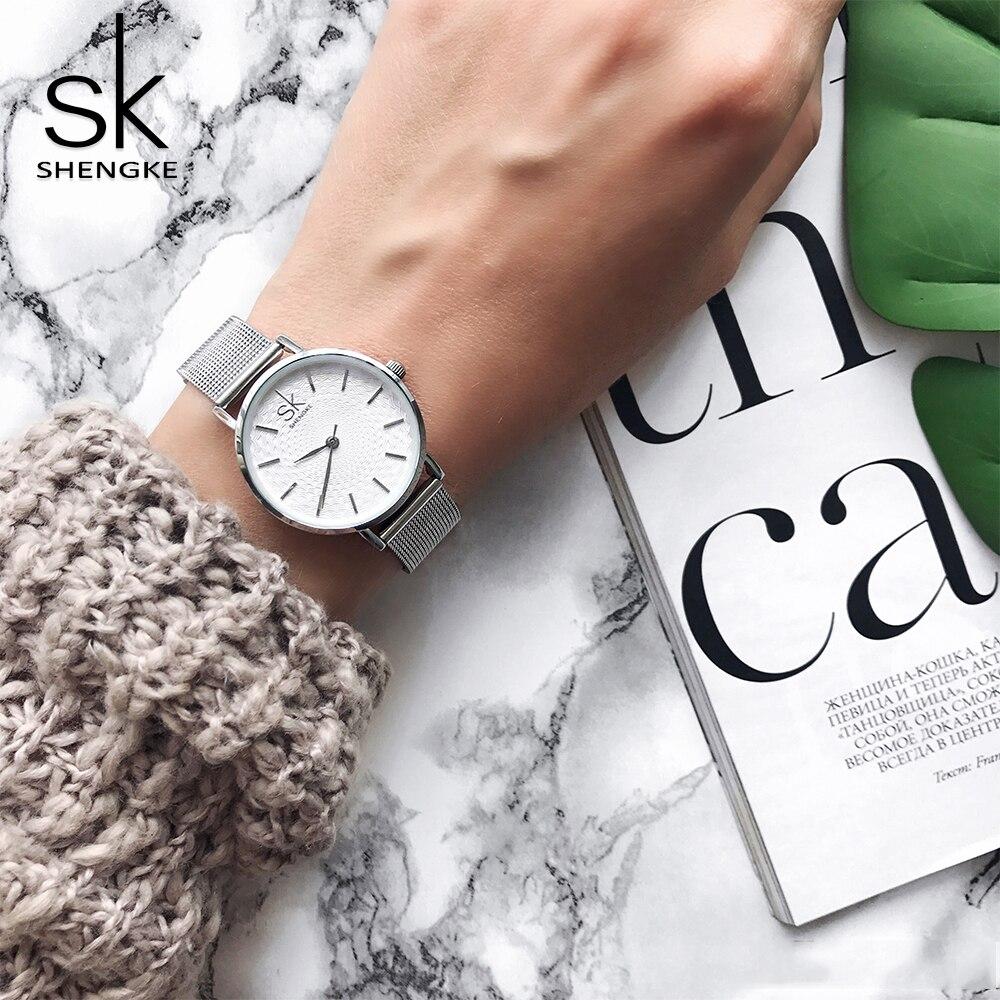 Shengke Slim Mesh Stainless Steel Quartz Wristwatch Women Ultra Thin Luxury watch Ladies Dress Watch Relogio Feminino Gift Clock vapeberry slim steel